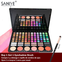 Saniem 78 cores paleta de sombra com espelho, beleza glazed, sombra de olho multicolor, paleta de blush, maquiagem grande 78p04
