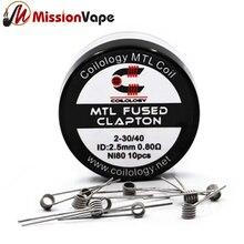 Coilology  NI80 MTL Fused Clapton 2-30/40 0.8ohm 10pcs Prebuilt Coils 2.5mm Diameter