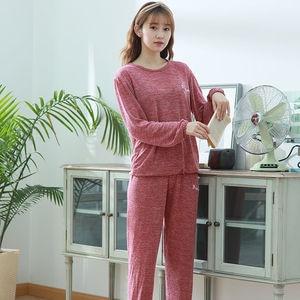 Image 4 - 女性の綿のパジャマセクシーな赤パジャマセット女性パジャマセットロングシャツパンツショーツ3ピース/スーツカジュアルホームウェアビッグサイズ