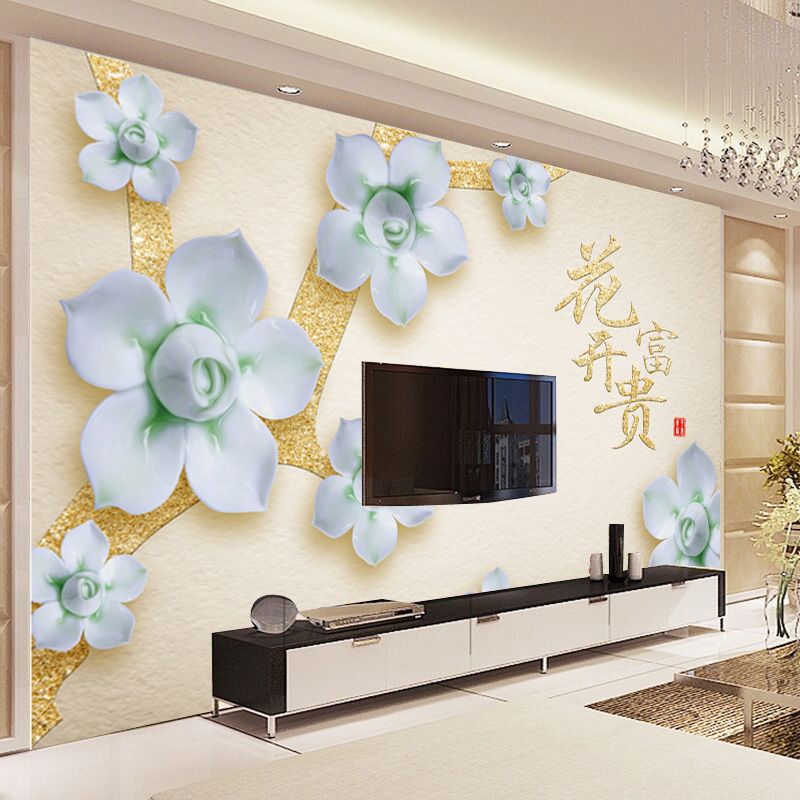 3D Jiahe TV Background Wallpaper Chinese-Style Large Mural Cool Seamless Whole Wallpaper Blossoming