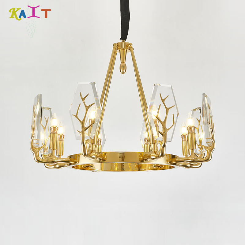 chandeliers ceiling Gold Iron 6/8 Branching Chandeliers Modern Creative Living Room Office|Chandeliers| |  -