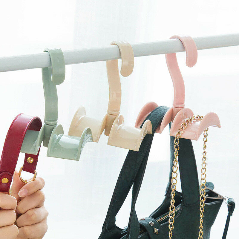 Any Angle Rotation Closet Organizer Rod Hanger Handbag Storage Purse Hanging Rack Holder Hook Bag Clothing Hanger