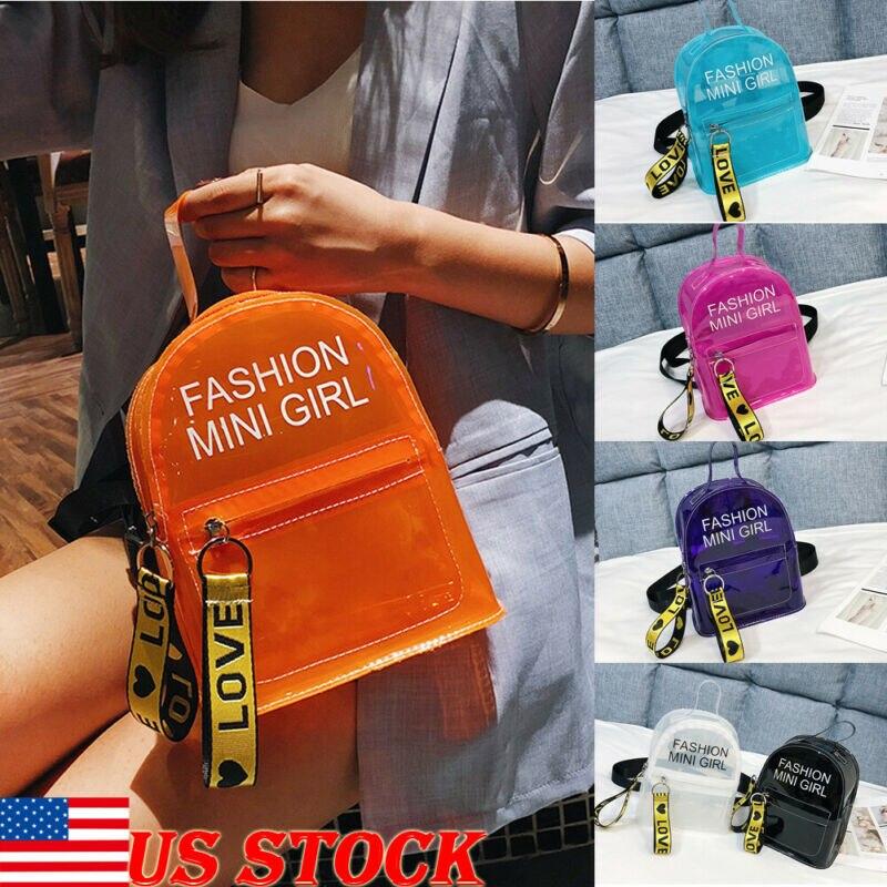 Fashion Women Girl Mini Backpack Travel PVC Clear Satchel Small Rucksack School Bag Black Blue White Pink