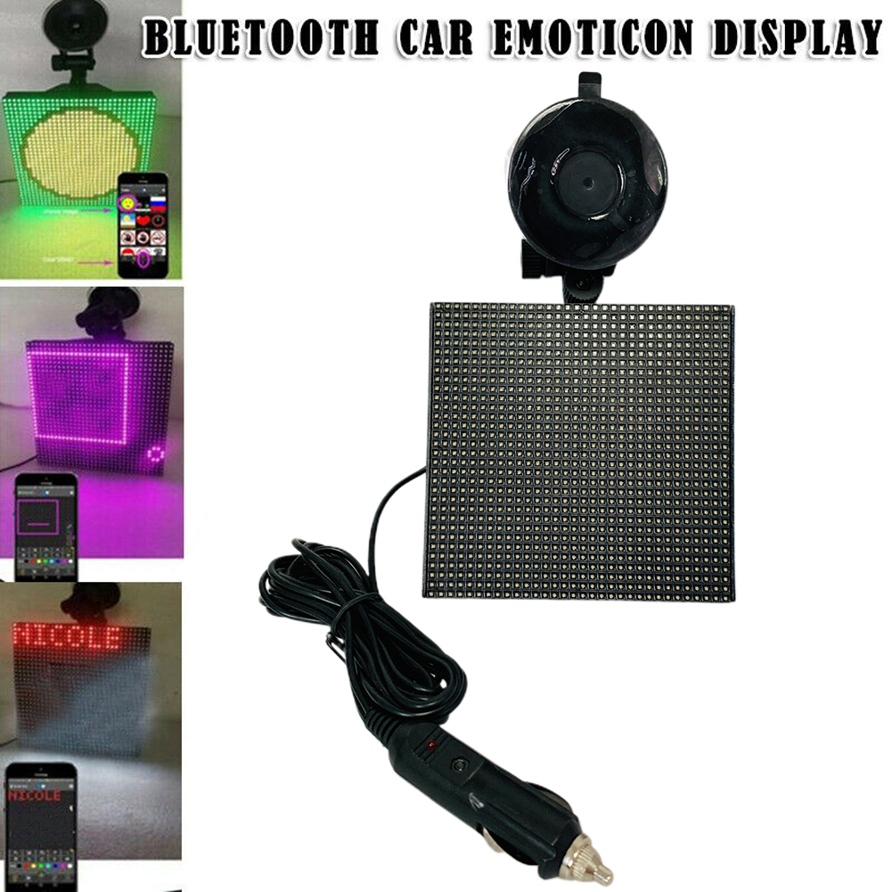 2020 Full Color Wireless Bluetooth APP Control Car  Smiley Face LED Car Sign LED Shop Sign Vehicle RGB Emoticon Display
