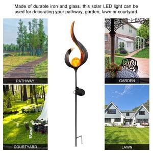 Image 2 - Solar LED Flame Light Waterproof IP55 Retro Iron Garden Lawn Lamp Outdoor Garden Landscape Decor Lighting Sun Moon Angle Flame