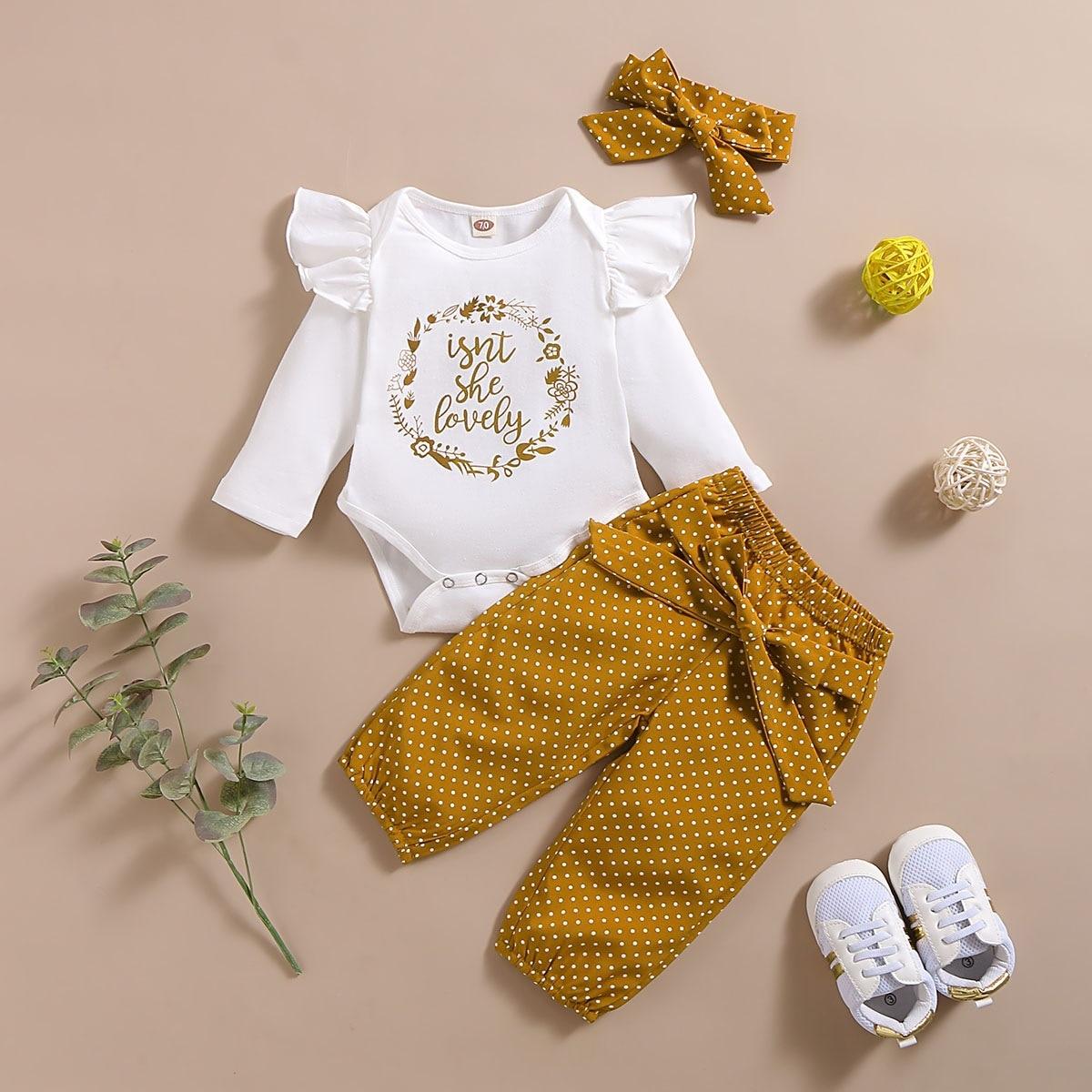 Conjunto de 3 uds. De ropa para niña recién nacida de otoño, conjunto de Pelele de algodón, pantalones de lunares, diadema, trajes de otoño, Ropa para Niñas