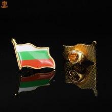 Broche con forma de bandera nacional patriótica búlgara, solapa de Metal chapada en oro Euro, hebilla de seguridad, Pin, corbata, accesorios para traje de colección