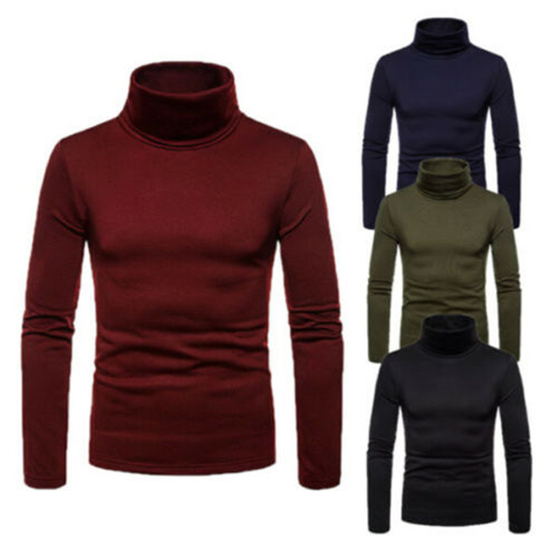 2020 New Fashion Mens Turtle Neck Pullover Sweaters Solid Color Knitted Jumper Tops Male Casual Sweater Streetwears Long Sleeve