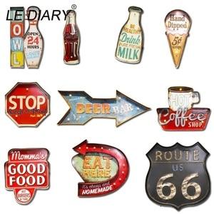 Image 5 - Светодиодный настенный светильник IARY для ресторана, бара, украшения для кафе, Большой Настенный светильник, ретро, железный Route 66, Cola, настенный светильник с дистанционным управлением для мороженого
