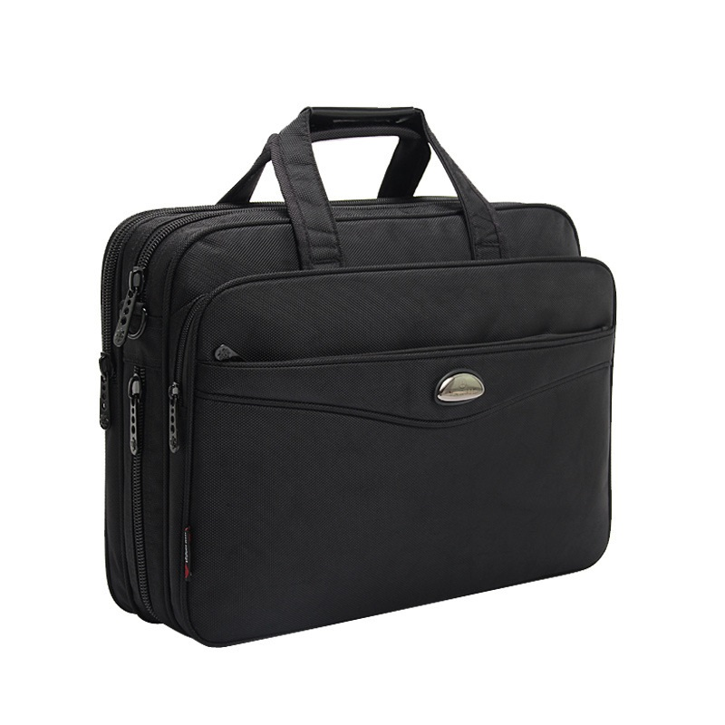 Brand Business 15.6 Inch Laptop Waterproof Oxford Men Large Capacity Shoulder Strap Black Briefcase