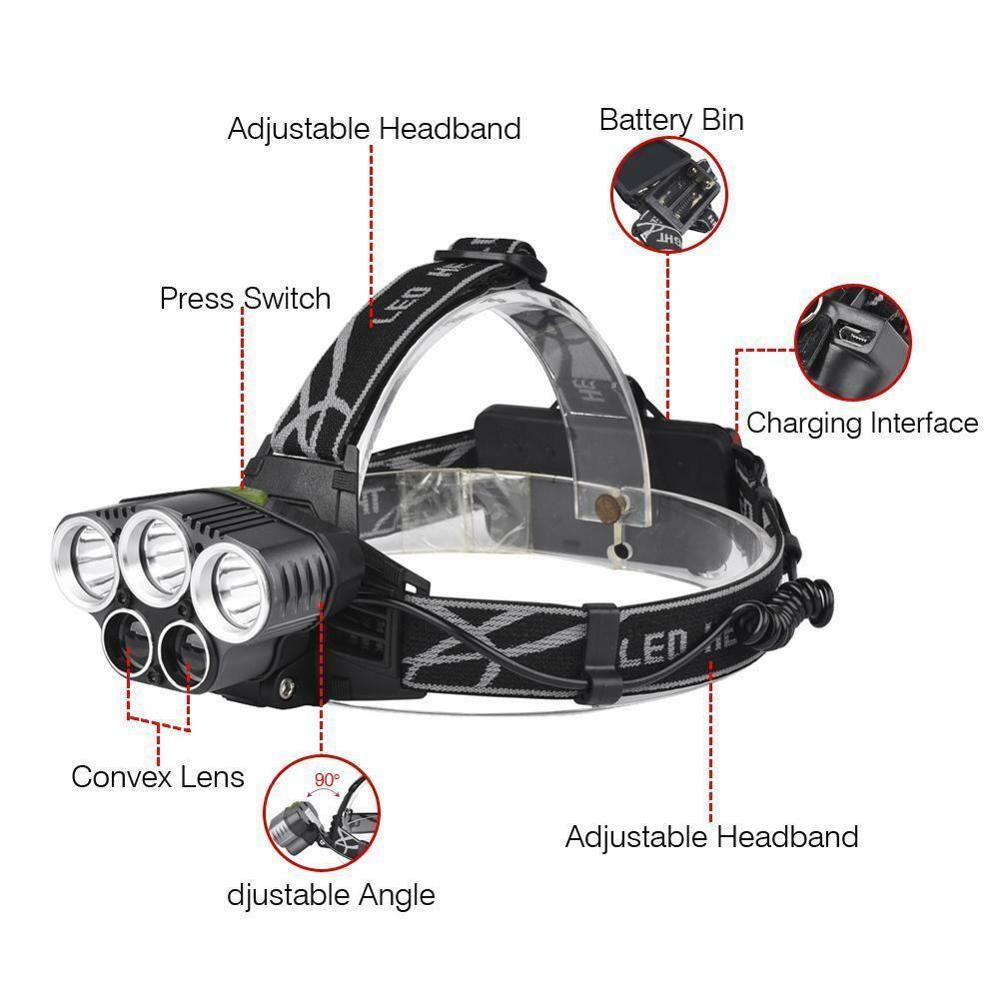 90000LM Rechargeable Headlamp 5x T6 LED Headlight Light Torch Lamp+18650 Battery