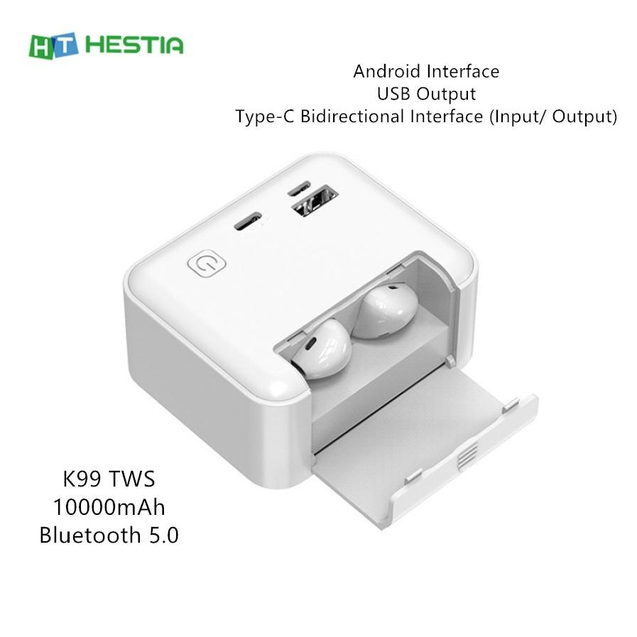 I12 10000 мАч TWS наушники-вкладыши беспроводные Bluetooth наушники Power Bank Android USB Type-C держатель телефона наушники спортивные умные наушники