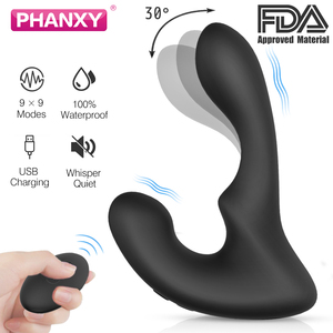 PHANXY Remote Control Male Prostate Massager Vibrator For Men Medical Soft Silicone Butt Plug Anal Plug Sex Toy For Gay Couples