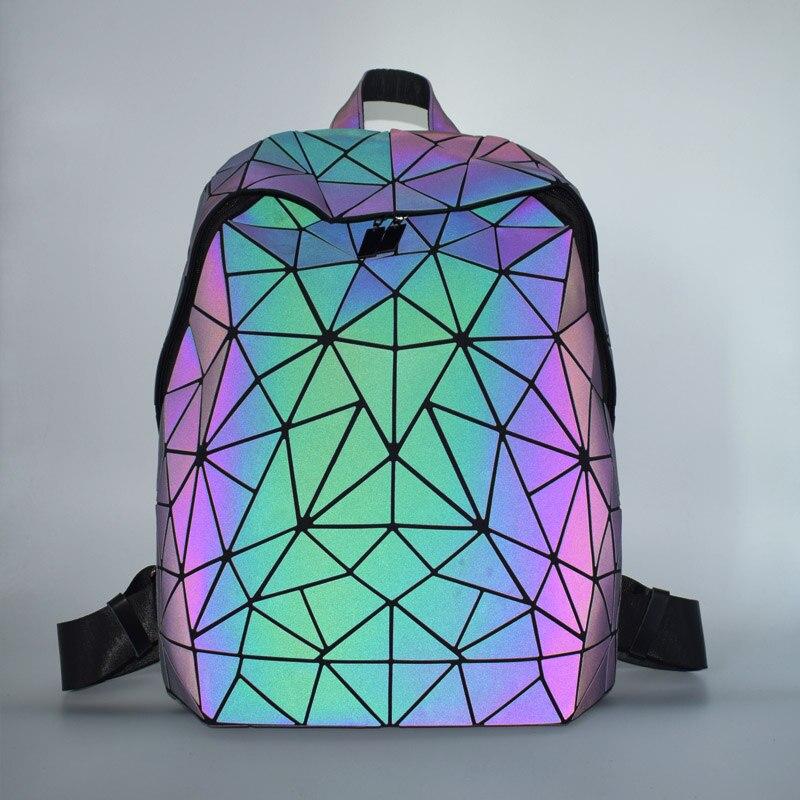 H6863b606ac044be1a89688dcf809122aV Luminous Backpacks Women Geometric Laptop Backpack For Men Shoulder Backpack School Holographic Rucksack Female Trave School Bag