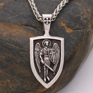 Ожерелье с подвеской в виде щита Archangel, винтажная цепочка с цепочкой в виде щита