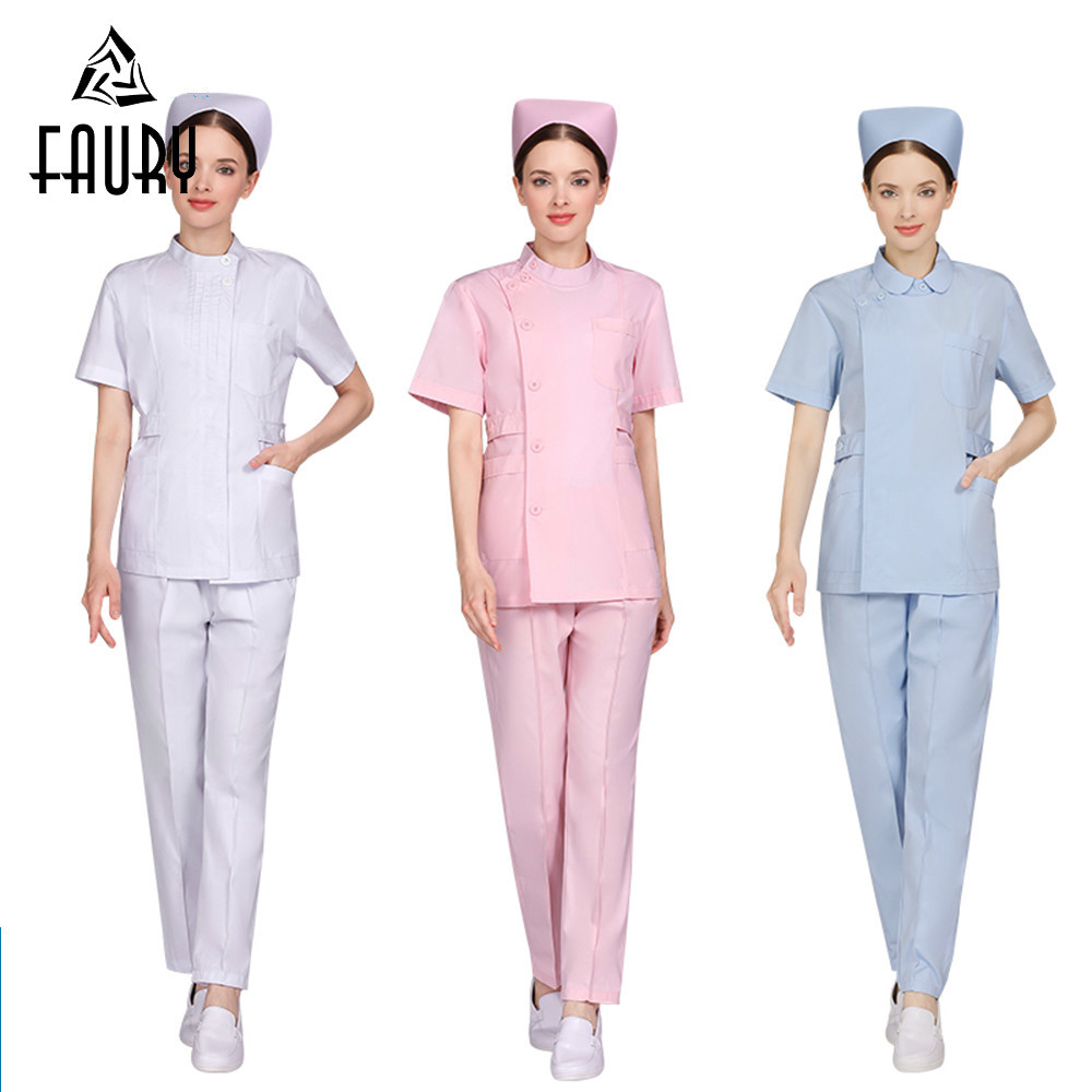Nurse Short Sleeve Uniform Medical Coat Summer Nurse Doctor Shirt+pants Sets Hospital Beauty Salon Work Overalls