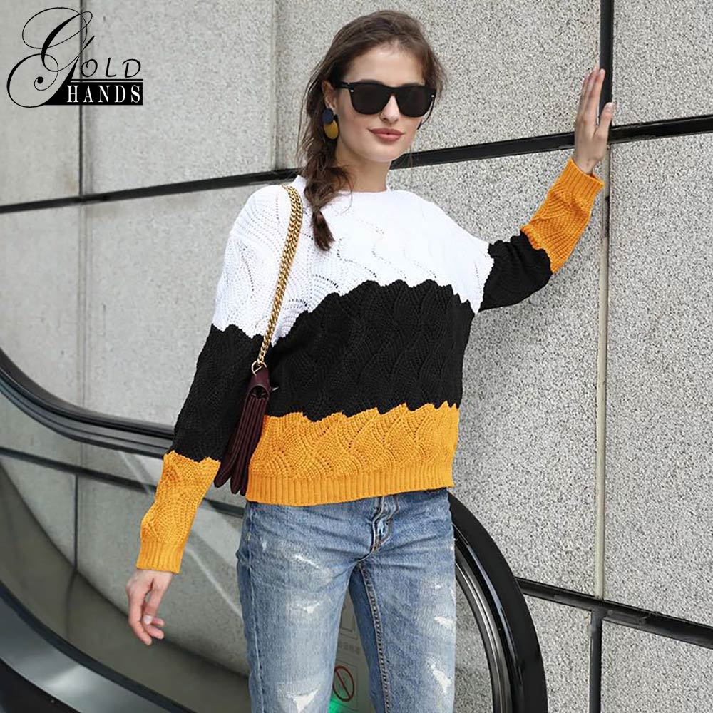 Image 4 - Gold Hands New Women Vintage Splice Autumn Ladies Pullover Jumper  Winter Long Sleeve Crewneck Knitted Pullover Sweater Free  ShipPullovers