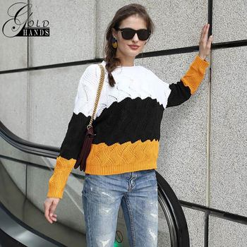 Gold Hands New Women Vintage Splice Autumn Ladies Pullover Jumper Winter Long Sleeve Crewneck Knitted Pullover Sweater Free Ship 6