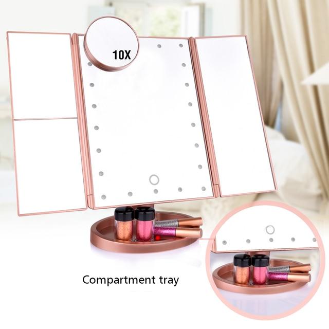 22 ekran dotykowy LED lustro do makijażu 1X 2X 3X 10X lustra powiększające 4 w 1 Tri składany lusterko biurkowe Lights zdrowia przyrząd kosmetyczny
