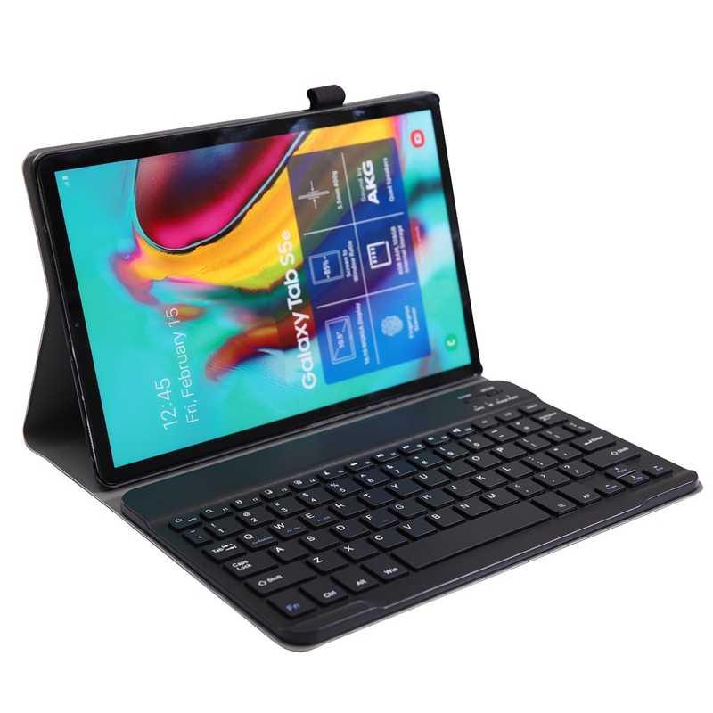 Kasus Keyboard untuk Samsung Galaxy Tab S5E 10.5 2019 Sm-T720 Sm-T725 T720 T725 Kasus untuk Samsung Tab S5E Keyboard Cover (Hitam)