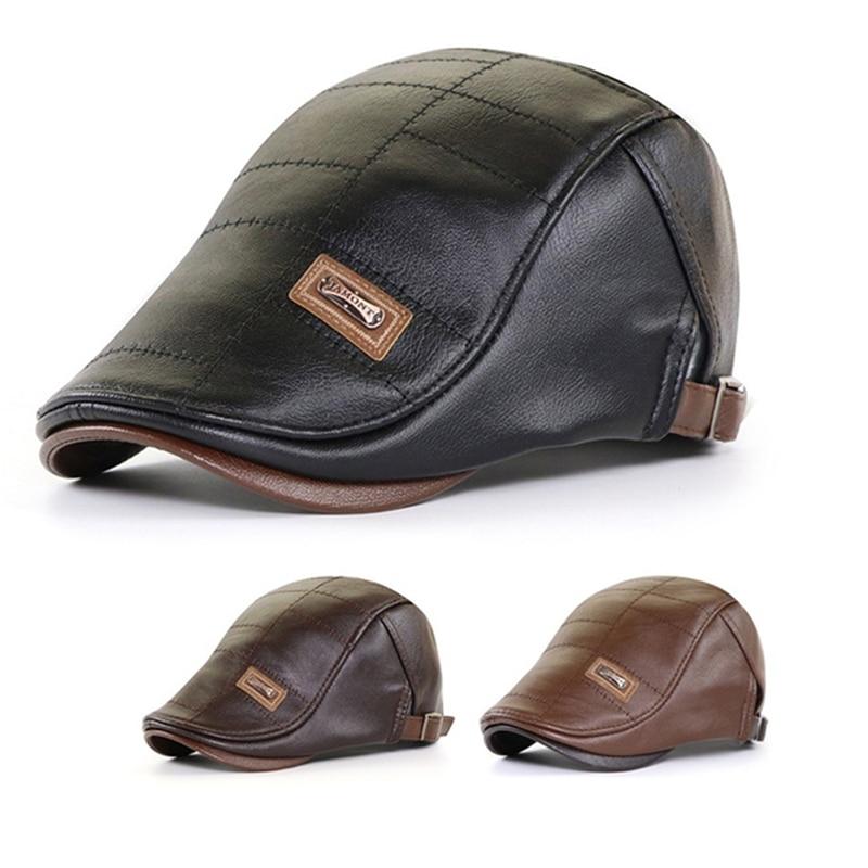 Sombrero de boina plana de cuero para hombre, gorro plano de cuero, cálido, ajustable, alta calidad, Gatsby, Retro