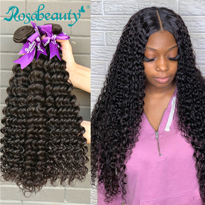 Rosabeauty Deep Wave 8 - 28 30 Inch 3 4 Bundles Brazilian Remy Hair 100% Human Hair Extension Nature Closure Weave Curly(China)