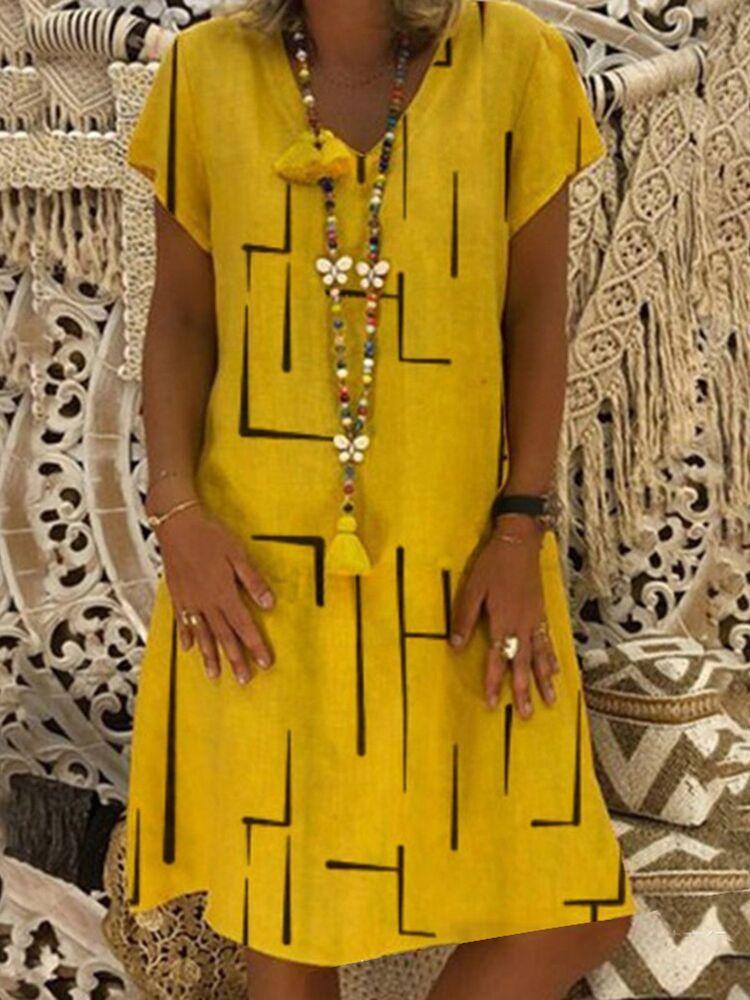 Large Size Women's Dresses Print Short Sleeve V-neck Dresses Boho Clothes Sundress Women Summer Casual Loose Dress Plus Size