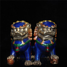 Chinese old Beijing old goods collection old Copper tire cloisonne festoon pair of lions cheap MIAO YANG GONG YI CHINA Mascot