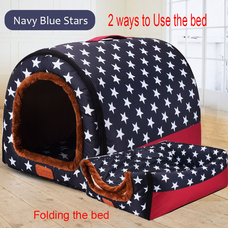 New Warm Dog House Comfortable Print Stars Kennel Mat For Pet Puppy Top Quality Foldable Cat