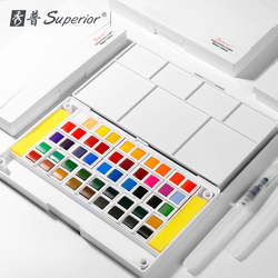 Najwyższej jakości 24/36/48 stałe akwarela farby pigmentu z pędzel wodny prezent długopis do malarstwo przezroczyste Acuarela dostaw sztuki w Akwarele od Artykuły biurowe i szkolne na