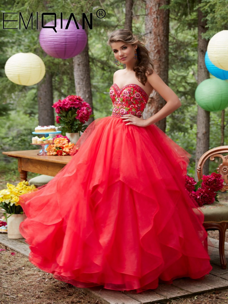 Organza Ball Gown Formal Occasion Prom Gown, Sweetheart Bodice Ruffled Skirt Prom Dresses With Embroidery
