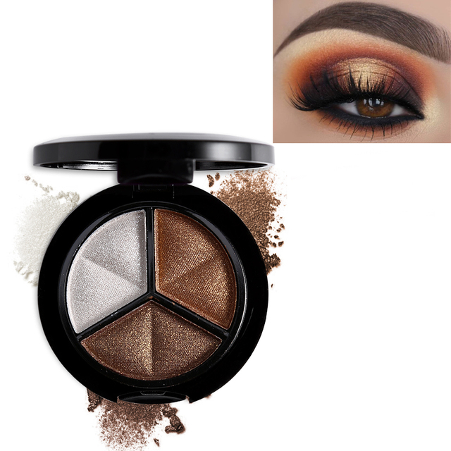 Professional Smoky 3 Colors Eyeshadow Makeup Palette Set Natural Shimmer Glitter Nude Eye Shadow Make Up With Brush & Mirror 2