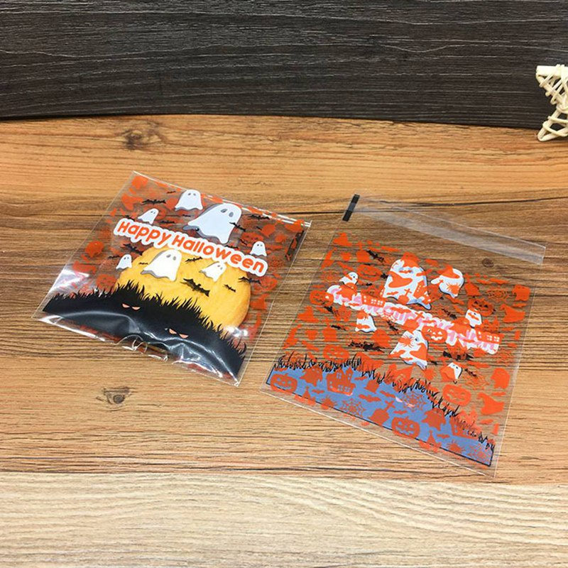 100pcs/bag Halloween Ghost Pumpkin Cookie Candy Bread Packaging Bags Self-adhesive Plastic Bags Biscuits Snack Baking Package image