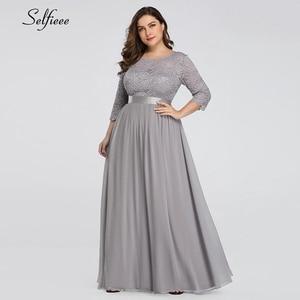 Image 5 - Azul marinho vestido feminino 2020 nova chegada elegante a linha o pescoço três quartos manga rendas vestido de festa robe femme longo chiffon vestido