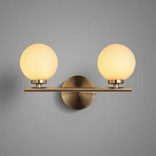 BOKT Bedside Wall Lamp Modern Iron Double Head Glass Ball Wall Sconces Kitchen Living Room Gold Wall Light Fixture For Bedroom bokt nordic wall wood light glass lampshade wall sconces staircase porch aisle wall bedroom bedside lamp