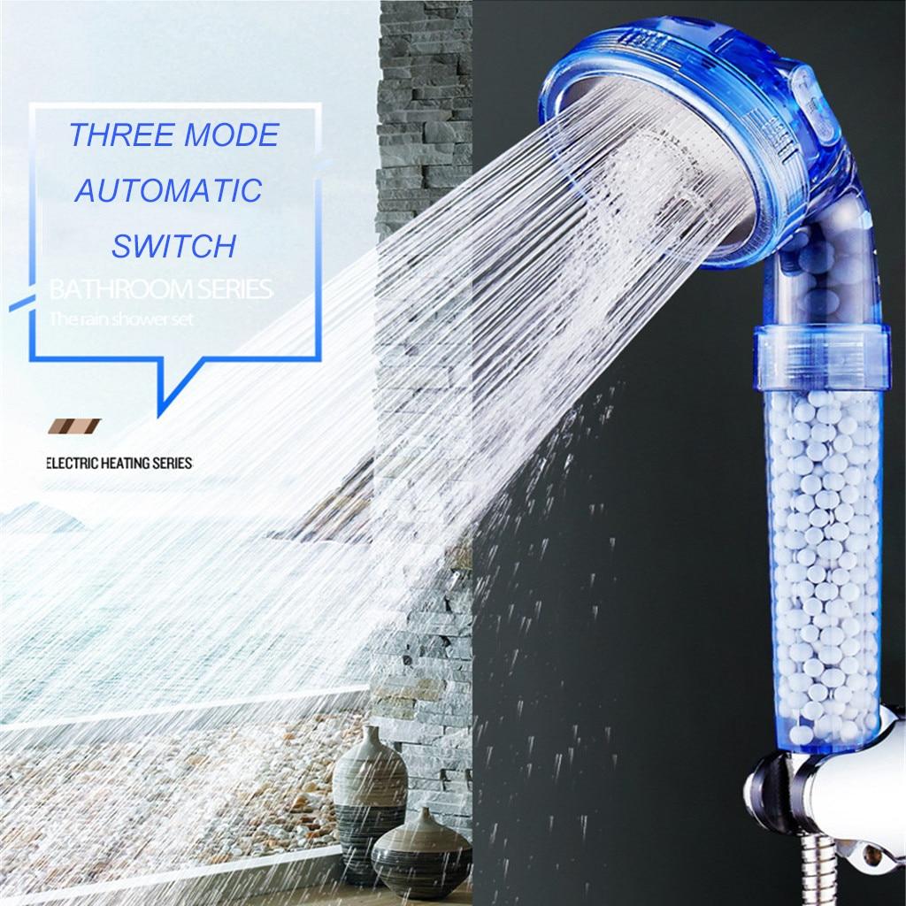 Высококачественная душевая лейка с отрицательной ионной фильтрацией, три режима, высокое давление, экономия камня, низкое давление воды, на...