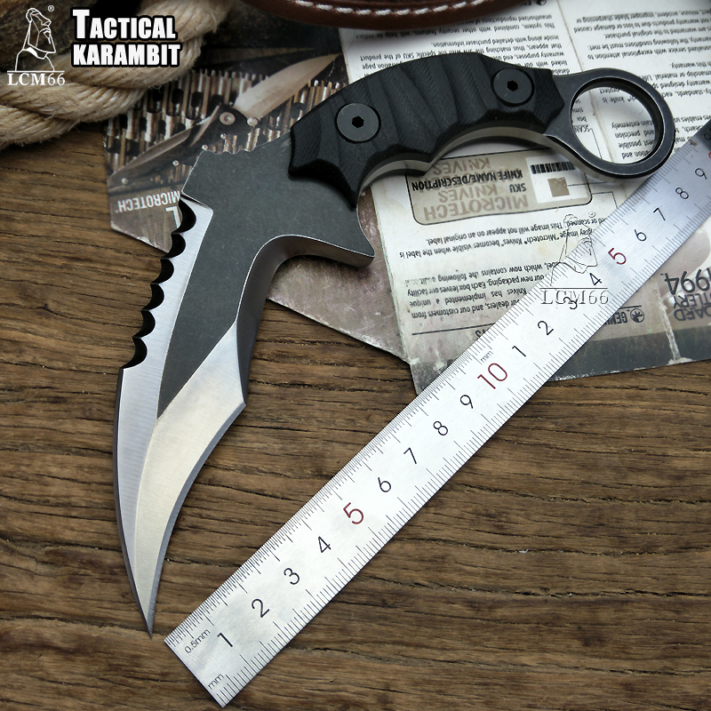 tactical <font><b>karambit</b></font> High-end D2 steel scorpion claw knife outdoor camping jungle survival battle Fixed blade self defense tool image