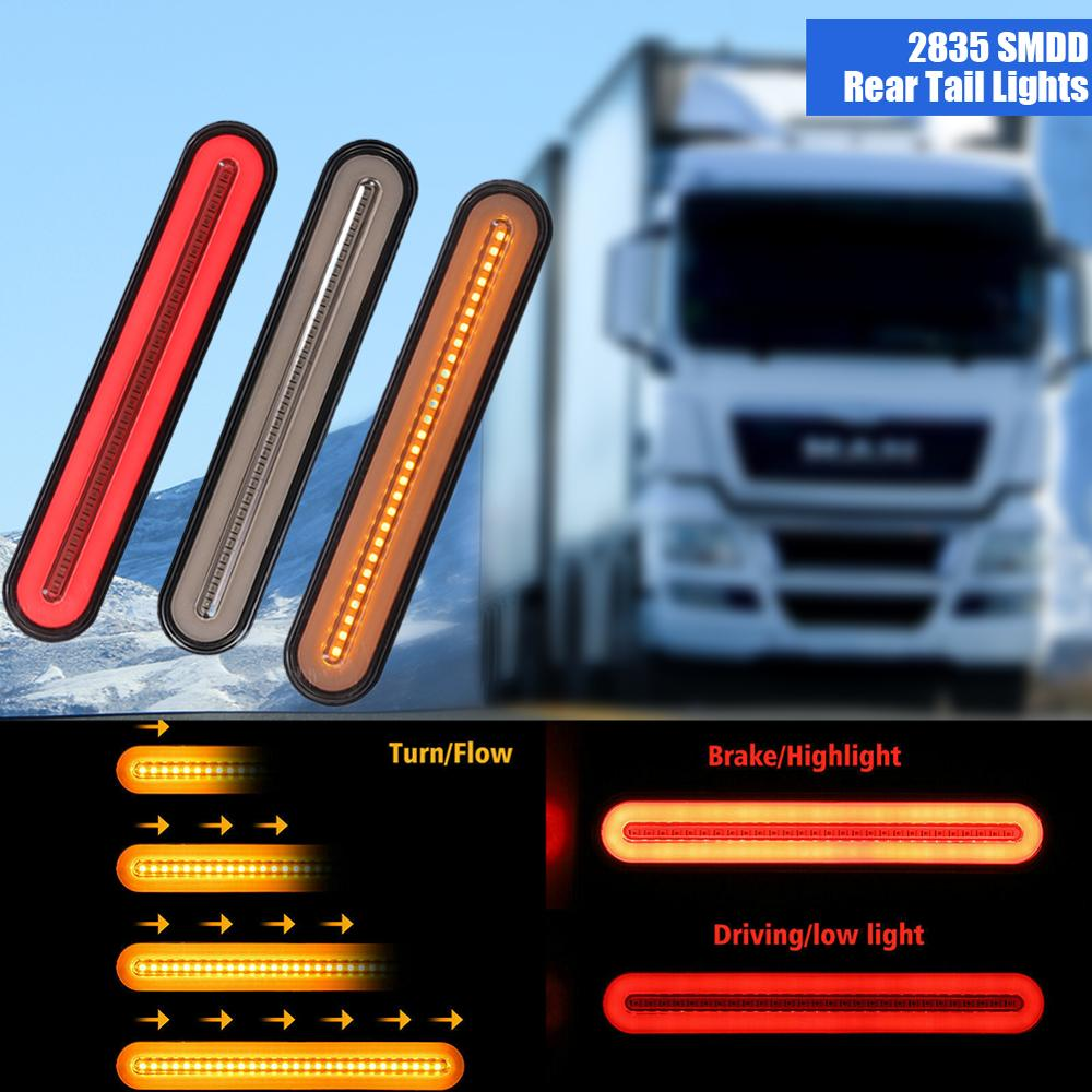 Fashion Waterproof 1Pair 100 LED 12V Car Truck Light Bar Brake Trailer Turn Signal Stop Tail Lights Flowing Strip Novelty Light