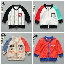 Весенне-осенняя куртка для маленьких мальчиков и девочек новое модное Детское пальто с круглым воротником куртка с длинными рукавами для малышей