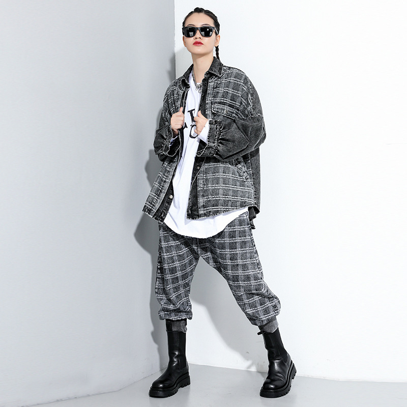 [EAM] Loose Fit Black Plaid Denim Big Size Jacket New Lapel Long Sleeve Women Coat Fashion Tide Spring Autumn 2020 1DA091 2