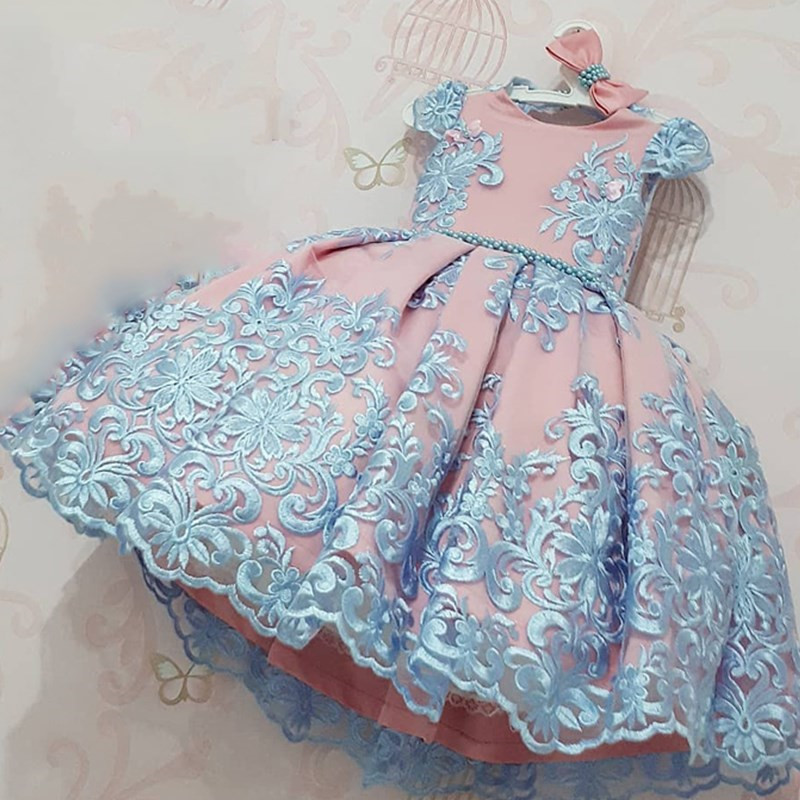 Baby Girl Dresses Lace Embroidery Christmas Dress Wedding Gown Children Clothing Kids