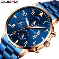 Relógio de pulso masculino cuena marca superior luxo relógio de quartzo homem relógio de pulso militar do esporte dos homens relógios de negócios da forma