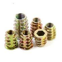 Zinc-Alloy Furniture Nuts Wood-Insert-Nut Thread Hex-Drive-Head M10 Flanged M4 M5 M6 M8