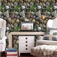 3D Simulation Wall Sticker PVC Removable Plant Stone Wallpaper Nordic Style Sticker Home Decor House Bedroom Sticker