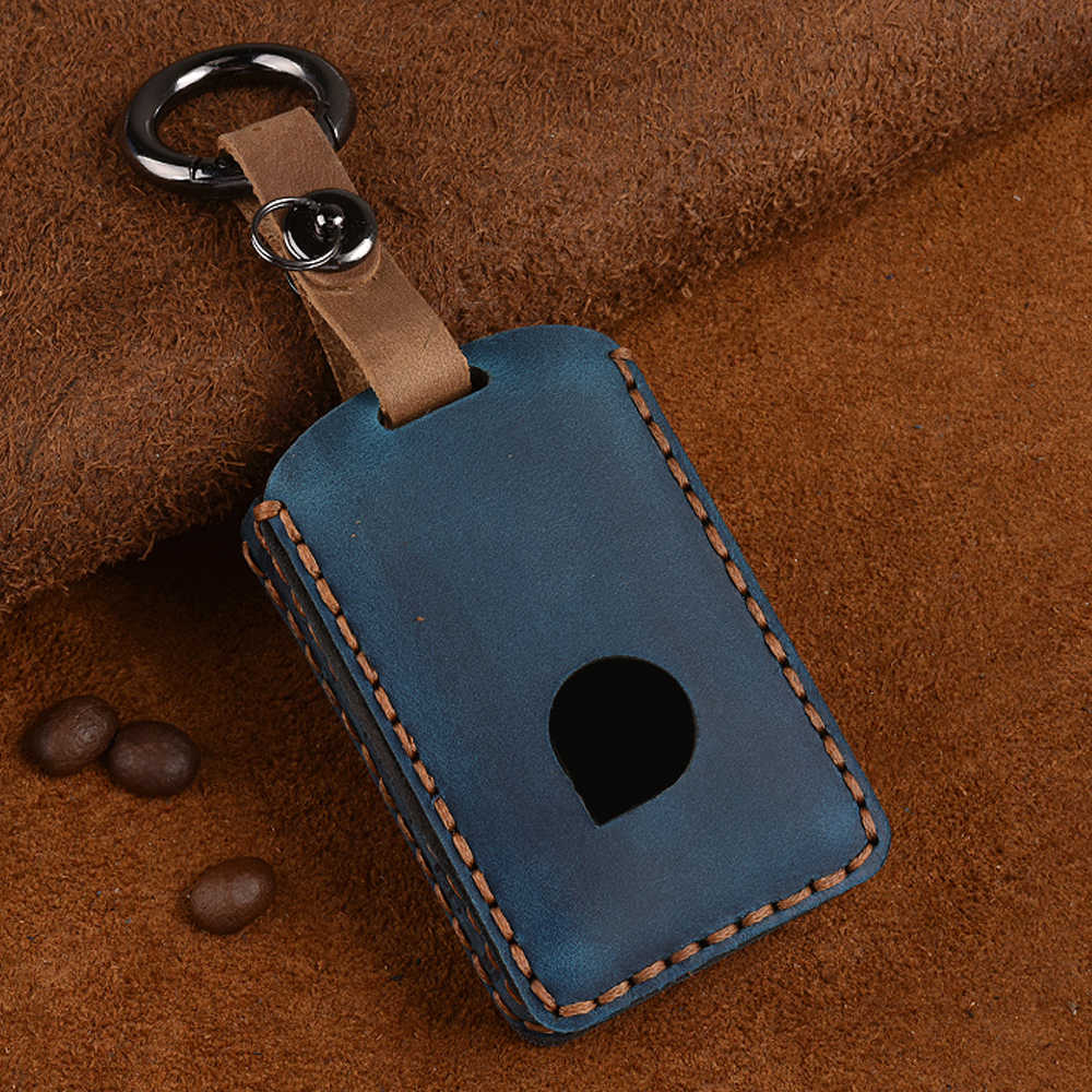 Leather Car Key Case For Volvo S90 V90 XC40 XC90 2015-2018 Smart Keyless Remote Fob Cover Protector Bag Auto Accessories