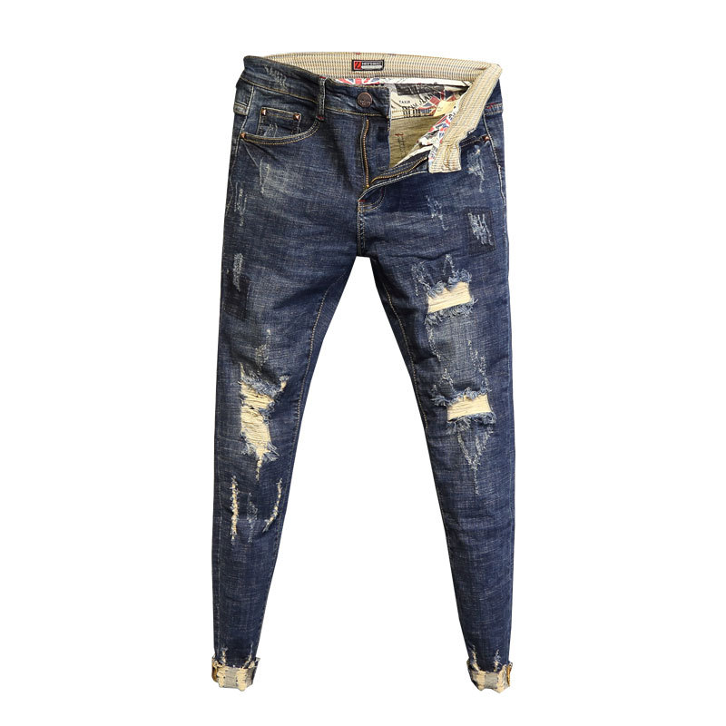 Wholesale 2020 Fashion No ironing low waist washing raw edge pants slim feet pants men's spring ripped holes ankle length jeans