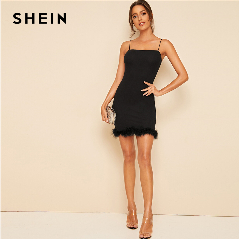 SHEIN Black Faux Fur Hem Bodycon Slip Mini Dress Women Autumn Solid Slim Fit Spaghetti Strap Party Night Out Pencil Dresses
