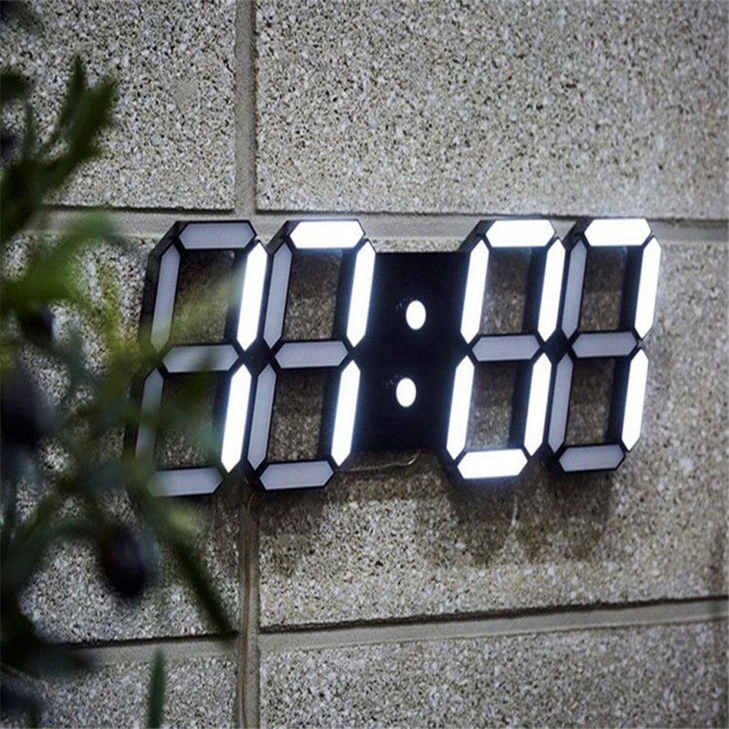 3D LED Wall Clock Modern Design Digital Table Clock Alarm Nightlight Saat reloj de pared Watch For Home Living Room Decoration image