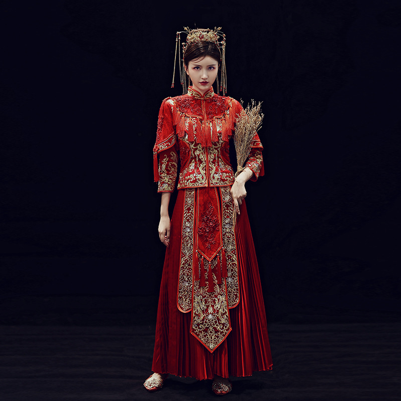 Xiuhe Real Half Appliques Junior Satin Bride 2020 New Wedding Chinese Dress Show Kimono Ancient Summer Thin Embroidered She