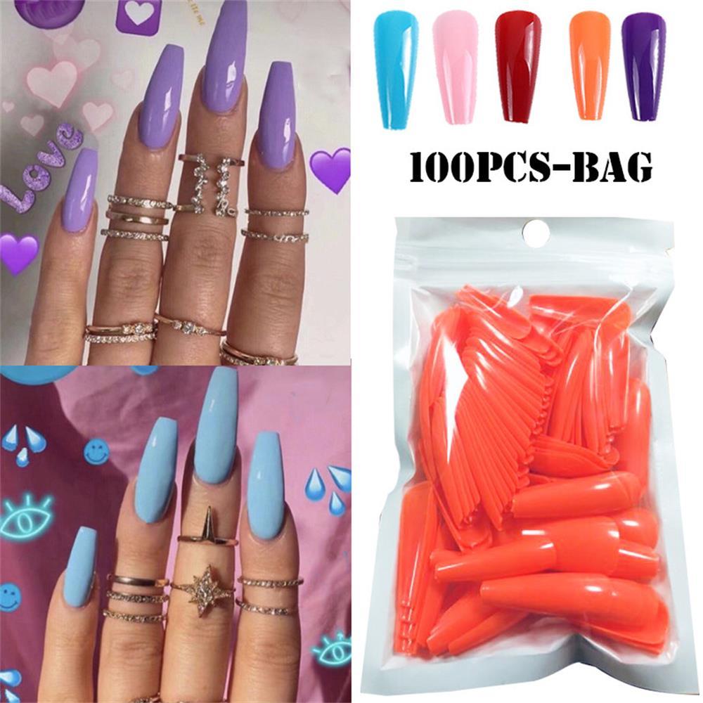 100 Pcs Set Full Cover Matte False Nail Tips Nail Art Manicure Matte Tips for False